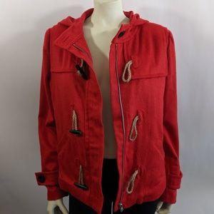 Nordstrom Hinge Wool Blend Hooded Crop Jacket Sz 1